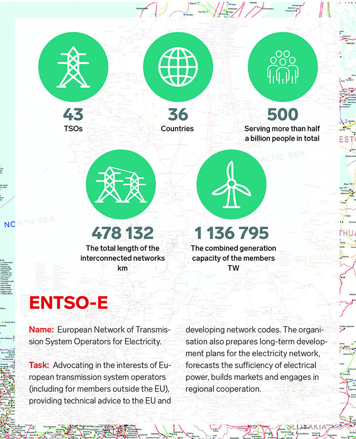 ENTSO-E = European Network of Transmission System Operators for Electricity. It's task is advocating in the interests of European transmission system operators (including for members outside the EU), providing technical advice to the EU and developing network codes.